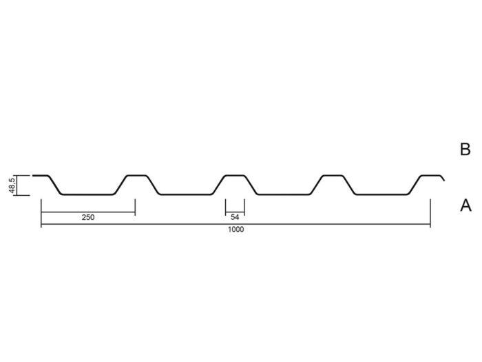 Trapezblech Profil 50x250 Querschnitt - MABO-Bauelemente, Ottenhöfen Furschenbach