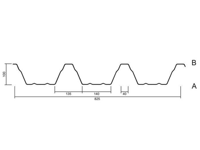 Trapezblech 100x275 Querschnitt - MABO-Bauelemente, Ottenhöfen Furschenbach